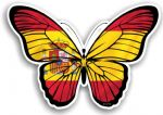 Beautiful Butterfly With Spain Spanish Country Flag Vinyl Car Sticker 130x90mm